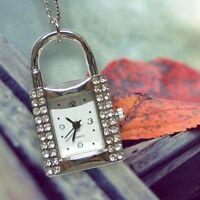 Miniature Shining Rhinestones Lock Pendant Necklace Mini Pocket Watches Gifts