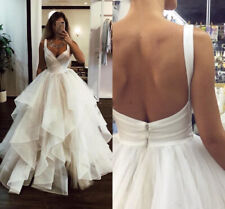 Tiered Wedding Dresses V-Neck Sweep Train Backless Organza Country Bridal Gowns