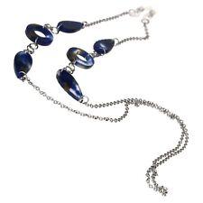 Womens Blue Marble Jewel Pendant Eyewear Glasses Neck Loop Silver Chain