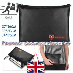 Fireproof Waterproof Document Bag Money Safe Box Secret File Protect Pouch