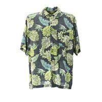 Herren Hemd Kurzarm Größe XL Vintage Print Shirt Viskose Kentkragen Freizeit