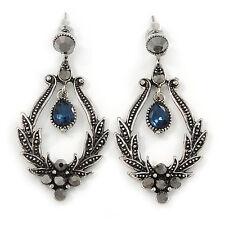 Stile Vittoriano Ematite/blu scuro Orecchini a goccia cristallo in argento anticato tono