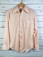 Vintage Kmart Brand Polyester Mens Dress Shirt Size 15.5 / 33 Long Sleve Pocket