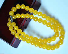 PRETTY 8MM NATURAL YELLOW JADE GEMSTONE NECKLACE CHAIN 18inch  LL066