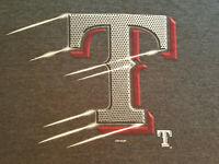Texas Rangers Logo T Shirt Medium EUC Gray MLB Baseball INV2492