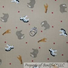 BonEful Fabric FQ Cotton Quilt Brown B&W Star VTG Noahs Ark Animal Zebra Giraffe