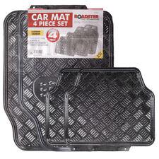 Carbon Fibre Metallic Aluminium Checker Plate Look 4 pcs Universal Car Mats Set