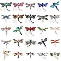 Elegant Women Dragonfly Crystal Rhinestone Collar Brooch Pin Wedding Jewelry