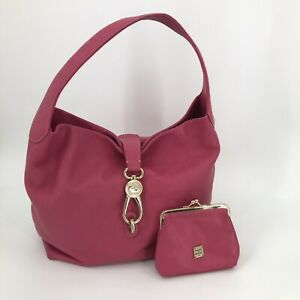 DOONEY & BOURKE Pink Leather Hobo Shoulder Bag & Matching Kisslock Coin Purse