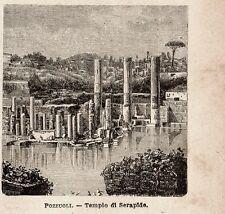 Stampa antica POZZUOLI rovine Tempio di Serapide Napoli Campania 1899 Old print