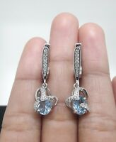 AAA NATURAL SKY TOPAZ WHITE CZ -STERLING 925 SILVER EARRING