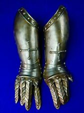Antique Old 16-17 Century Pair of Armored Armor Fingered Gauntlets Gauntlet