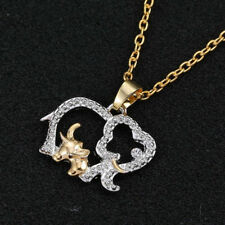 2 Elephants Alloy Rhinestone Pendant Necklace w/Free Jewelry Box and Shipping