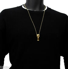 Gold Plated Fist Punch Tight Charm Micro Pendant Ball Chain Necklace Jewelry