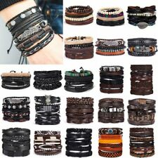 6pcs/set Men Punk Multilayer Bracelet Leather Wrap Braided Wristband Bangle Hot