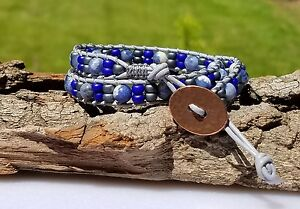 Boho Chic 2X Leather Wrap Bracelet in blue, sapphire, and metallic grey.