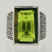 New Chunky Green Glass & Marcasite Ring - Sterling Silver Size 5.25 Statement