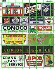 5015 DAVE'S DECALS HO OLDER BUS DEPOT CLINTON CIGAR SIGNS JAYHAWK OIL MORE