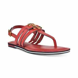 Women's Tommy Hilfiger Women's Sherlie Strappy Thong Sandals Red Multi Ll