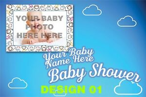 Welcome Baby Shower Banners Boy / Girl Party PVC Banner Display Printed