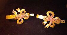 Pair Of Vintage Metal Curtain Holdbacks - Brass Tone Pink Ribbon