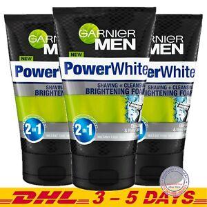 Garnier Men PowerWhite Shaving + Cleansing Brightening Foam 100 ml x 3