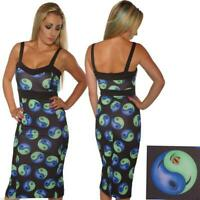 SCUBA WIGGLE PENCIL YIN YANG DRESS SIZE 8-16 ROCKABILLY ALTERNATIVE GOTH BODYCON