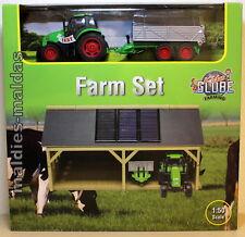 Kids Globe Farm Set Traktor mit Scheune 610048  1:50 NEU/OVP