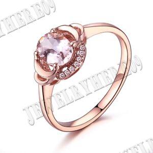 Fine Jewelry Oval 7x5mm Pink Morganite SI/H Diamonds Gemstone Ring 18k Rose Gold