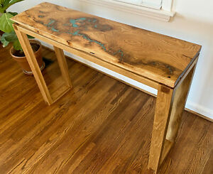 White Oak Live Slab Console Table - Kingman Turquoise Inlay - Steel Accents