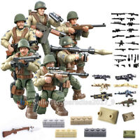 WW2 WWII Mini Figures Military Soldiers Army Weapon Machine Gun Fit Lego Mega