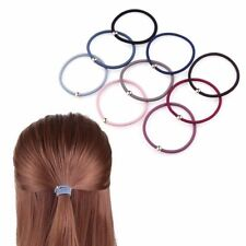 2Pcs Women Girls Elastic Rubber Band Gold Beads Hair Rope Ponytail Holder Simple