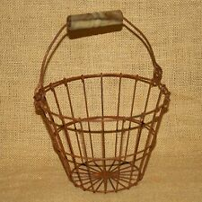Round Wire Egg Basket Country Primitive Rustic Brown Many Uses