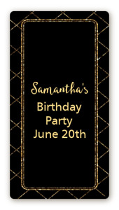Black Gold Glitter Personalized Birthday Party Rectangle Stickers 2oz Sanitizer