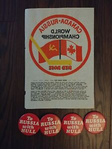 Hockey 1972 World Championship Canada To Russia with Hull pin Red Rose transfer