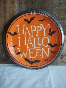 Halloween Happy Halloween Bats Paper Party Plates 8 Pack 6.75 inch NEW