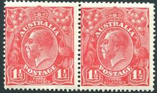 """AUSTRALIA-1924 1½d Scarlet Pair, One with """"Halepence"""" Variety Sg 77/77b MOUNTED"""