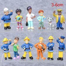 12 Pcs Cartoon Fun Fireman Sam PVC Figure Collection Cake Topper Gift Kid Boy