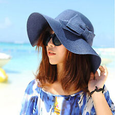 Bohemian Bowknot Womens Sun Floppy Hat Straw Beach Wide Large Brim Cap Navy
