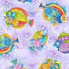 """Jewels of the Sea Lilac Fish Toss Cotton Fabric Yardage 44"""" W  A3"""
