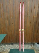 """BEAUTIFUL Vintage Red and White WOODEN 81"""" Long Skis Great for Decoration!!"""