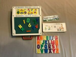 Vintage Fisher Price School Days Desk #176 Stencils Magnetic Alphabet 1972