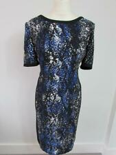 PLANET Ladies Black Blue White Patterned Shift Dress Lined Size 12 Immaculate