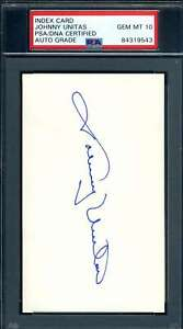 Johnny Unitas PSA DNA Coa Autograph Hand Signed 3x5 Index Card