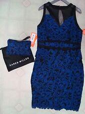 KAREN MILLEN BEAUTIFUL BLACK/ROYAL BLUE LACE PEPLUM DRESS W/CLUTCH NWT NICE!!