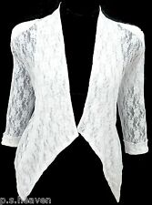 Womens New Dressy Bolero Size 16 - 26 Shrug Top Lace Jacket Black White *LICK*
