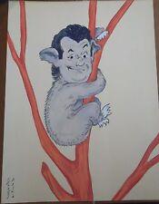 """Georges Bastia caricature Richard gouache  l'album """"Le Zoo des Vedettes"""" P1035"""