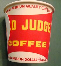 VINTAGE 4 OZ OLD JUDGE COFFEE FREE SAMPLE WAX PAPER CUP 1960'S 1970'S NOT TIN