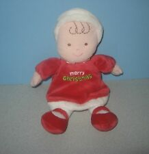 "10"" Carter's Bean Stuffed Plush Christmas Baby Dolly ""Merry Christmas"" Dress"