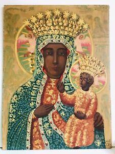 Antique Religious Portrait Black Madonna Częstochowa Folk Art Poland Wood Panel